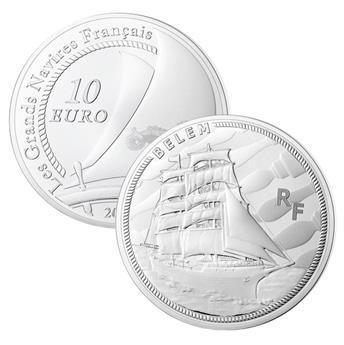 10 EUROS ARGENT - FRANCE - LE BELEM