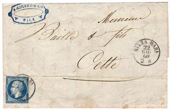 n°14B obl. B sur lettre - Timbre France Poste