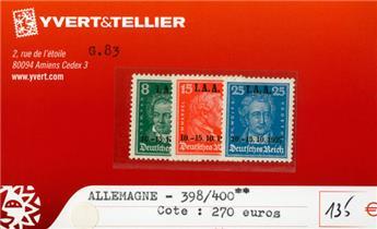 ALLEMAGNE REP.DE WEIMAR - n°398/400**