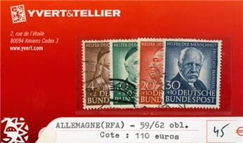 ALLEMAGNE FEDERALE - n°59/62 obl.