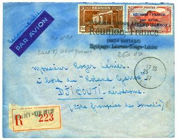 n°1 obl. sur lettre - Timbre REUNION Poste Aérienne