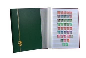 PERFECTA : Classeur fixe pour timbres (Grand modèle-Pages Blanches-64p. Bleu)