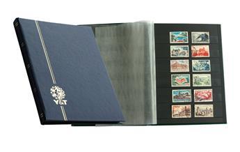 PERFECTA : Classeur fixe pour timbres (Petit modèle-Pages Noires-32p. Bleu)