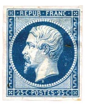 France : Essai du n°10 en bleu sur papier pelure. Non gommé.