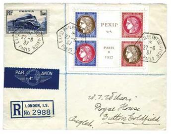 n°348/351 + n°340 obl. sur lettre - Timbre France Poste