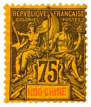 n°14* - Timbre INDOCHINE Poste