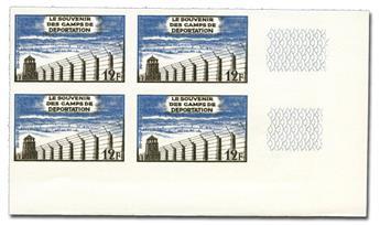n° 1023A (ND) - Timbre France Poste (Non dentelé en bloc de 4)