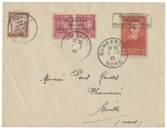 France : n°406, 436 + Taxe n°40 obl. sur lettre