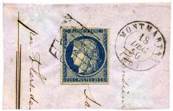 n°4 obl. TB sur fragment - Timbre FRANCE Poste