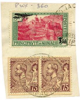 n°1 + n°19 x2 obl. sur fragment - Timbre MONACO Poste Aérienne
