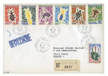 n° 40/42, n° 48 et 49/51 obl. sur lettre -  Timbre TAAF Poste
