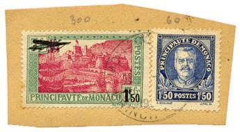 n°1 + n°118 obl. sur fragment - Timbre MONACO Poste