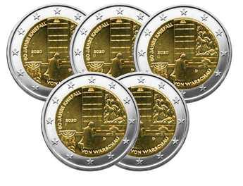 2 EURO COMMEMORATIVE 2020 : ALLEMAGNE - Génuflexion de Willy Brandt à Varsovie (5 pièces)