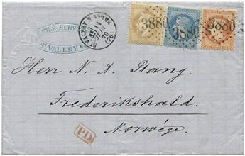 France : n°28B, 29B et 31 obl. sur lettre
