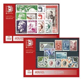 n° 338/522 - Timbre MONACO : Année complète (1950/1959)