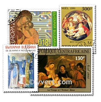 RELIGION: envelope of 100 stamps