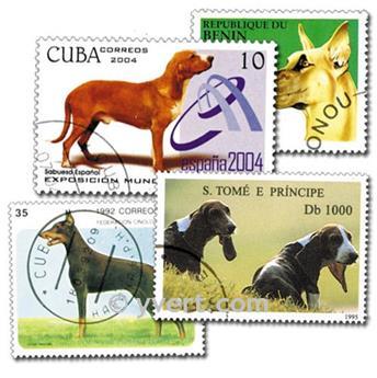 CÃES: lote de 200 selos