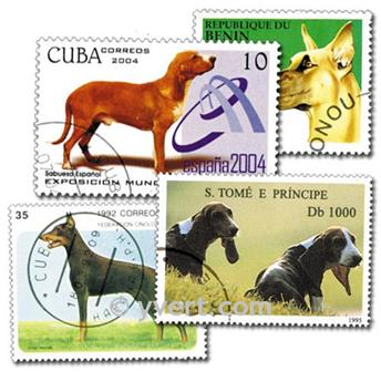 DOGS: envelope of 200 stamps