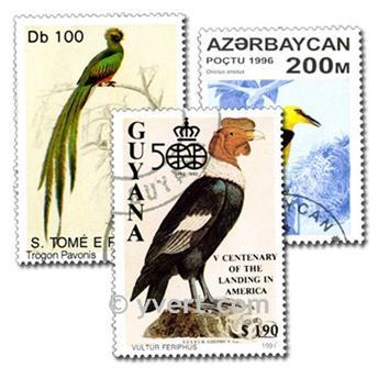 BIRDS: envelope of 100 stamps