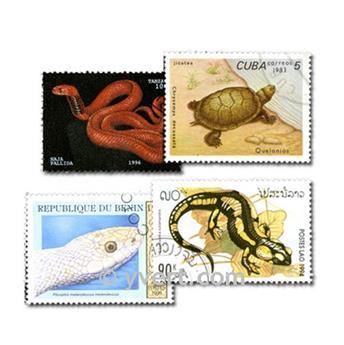 REPTILES: lote de 100 sellos