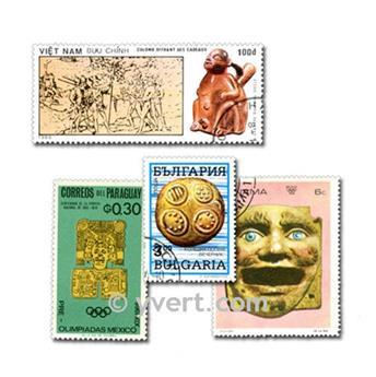 ESCULTURAS: lote de 100 selos