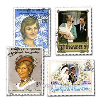 LADY DIANA: lote de 100 selos