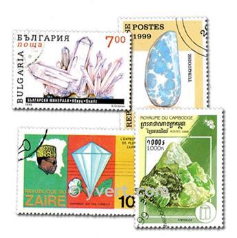MINERAUX : pochette de 50 timbres