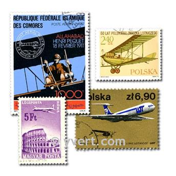 AVIÕES: lote de 100 selos
