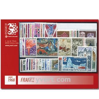 n° 1542/1581  - Selo França Ano completo  (1968)