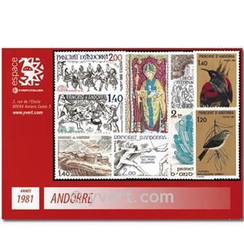 n° 291/299 -  Selo Andorra Ano completo (1981)
