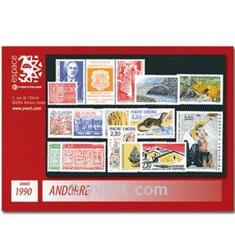 n° 385/399A -  Selo Andorra Ano completo (1990)