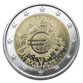 €2 COMMEMORATIVE COIN 2012 : ESTONIA (10 YEARS EURO)
