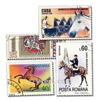 CHEVAUX : pochette de 200 timbres