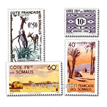 FRENCH COASTS OF SOMALIS: envelope of 50 stamps