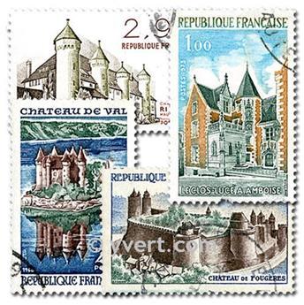 FRANÇA CASTELOS: lote de 25 selos