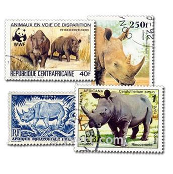 RINOCERONTES: Lote de 25 sellos