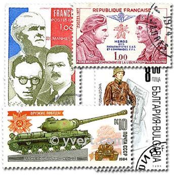 SECONDE GUERRE MONDIALE : pochette de 50 timbres