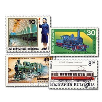 TRAINS : pochette de 200 timbres
