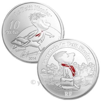 10 EUROS PLATA - FRANCIA 2014 - VOLVER LA ESCUELA EL PEQUEÑO NICOLÁS