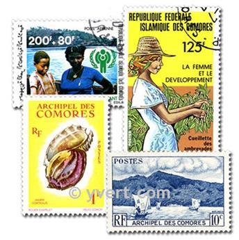 COMORES : pochette de 200 timbres