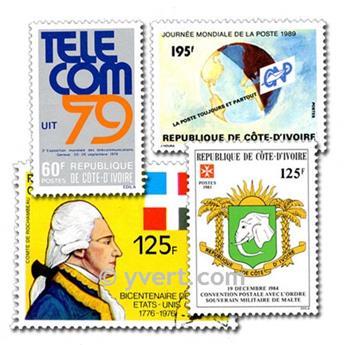 COSTA DE MARFIL: lote de 100 sellos
