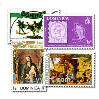 DOMÍNICA: lote de 100 selos