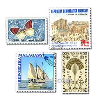 MADAGASCAR: lote de 100 sellos